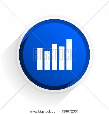 graph flat icon with shadow on white background, blue modern design web element