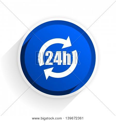 24h flat icon with shadow on white background, blue modern design web element