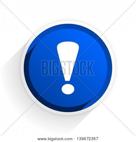 exclamation sign flat icon with shadow on white background, blue modern design web element