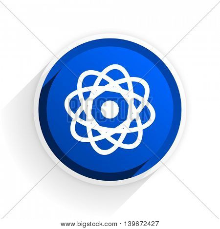 atom flat icon with shadow on white background, blue modern design web element