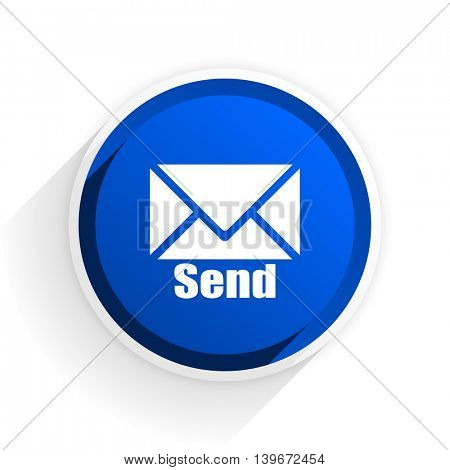send flat icon with shadow on white background, blue modern design web element