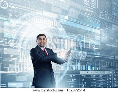 Businessman using smartphone  . Mixed media