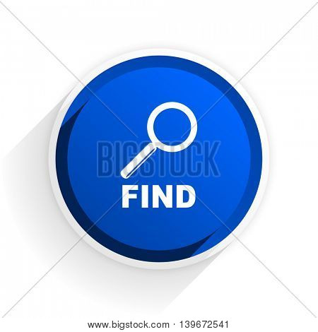 find flat icon with shadow on white background, blue modern design web element