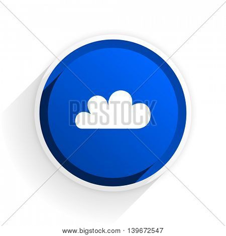 cloud flat icon with shadow on white background, blue modern design web element