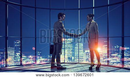 Business partnership as concept  . Mixed media