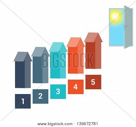 Template for Infografics Five Number Options Arrows in the form of Ladder Upwards Doorway Sky Sun.