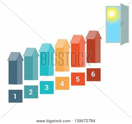 Template for Infografics Six Number Options Arrows in the form of Ladder Upwards Doorway Sky Sun.