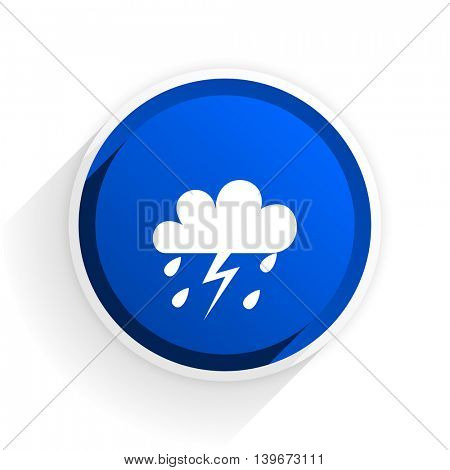 storm flat icon with shadow on white background, blue modern design web element