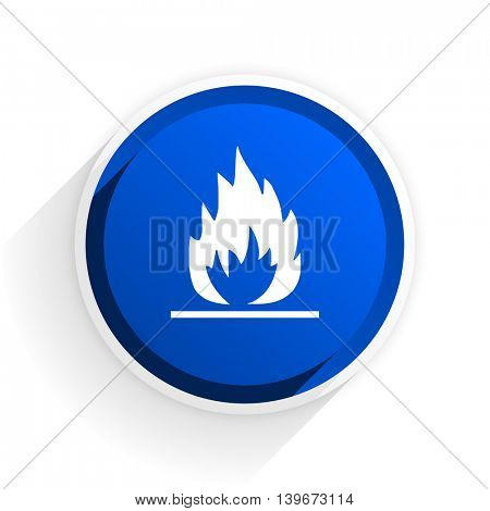 flame flat icon with shadow on white background, blue modern design web element