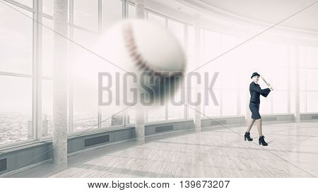 Woman play baseball  . Mixed media