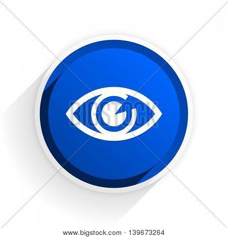 eye flat icon with shadow on white background, blue modern design web element