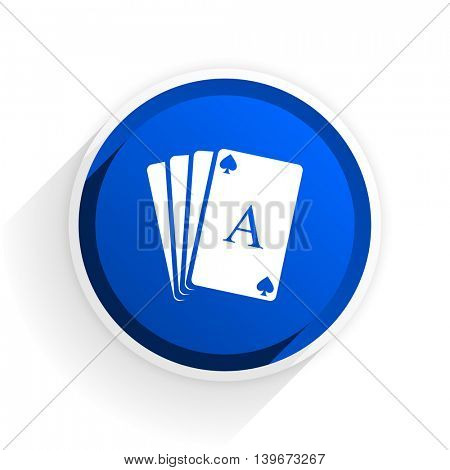 card flat icon with shadow on white background, blue modern design web element
