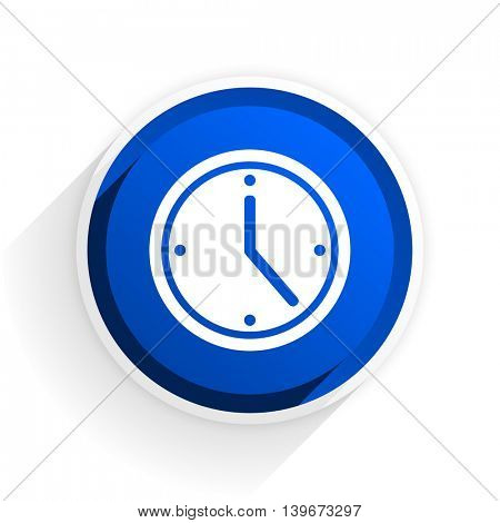 time flat icon with shadow on white background, blue modern design web element