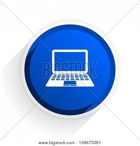 computer flat icon with shadow on white background, blue modern design web element