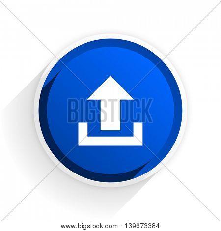 upload flat icon with shadow on white background, blue modern design web element