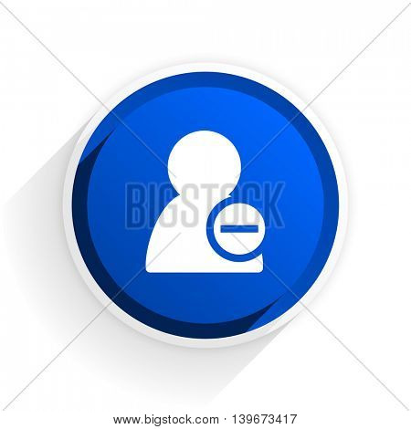 remove contact flat icon with shadow on white background, blue modern design web element