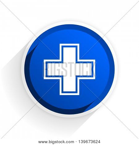 pharmacy flat icon with shadow on white background, blue modern design web element