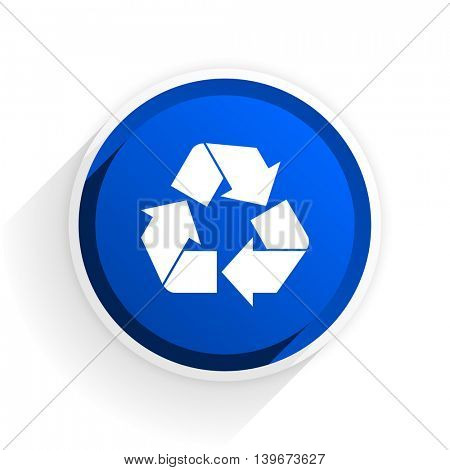 recycle flat icon with shadow on white background, blue modern design web element
