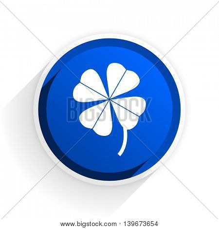four-leaf clover flat icon with shadow on white background, blue modern design web element