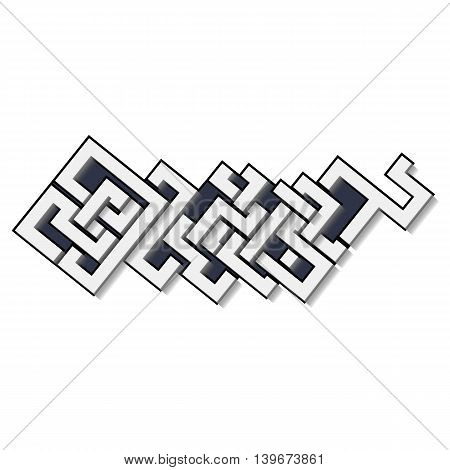 Graffiti vector art urban design element in celtic style with shadows