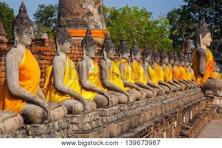 Buddha Statues At The Temple Of Wat Yai Chai Mongkol
