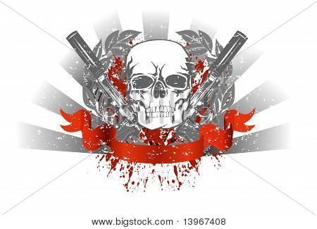 Skull Wit Two Pistols And Ribbon