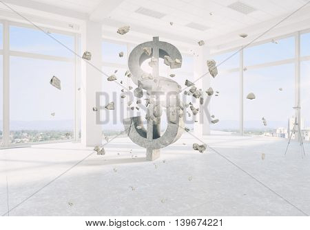 Dollar currency symbol  . Mixed media