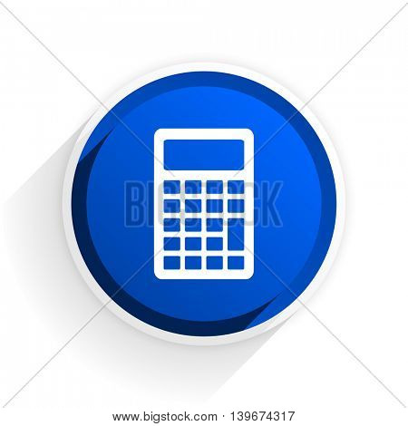 calculator flat icon with shadow on white background, blue modern design web element