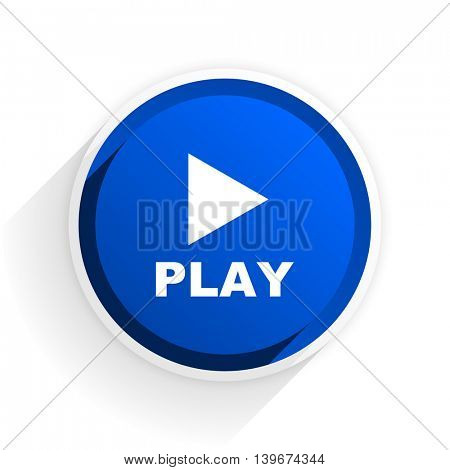 play flat icon with shadow on white background, blue modern design web element