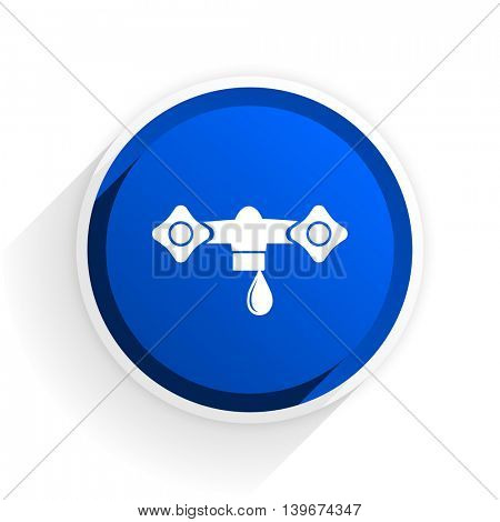 water flat icon with shadow on white background, blue modern design web element