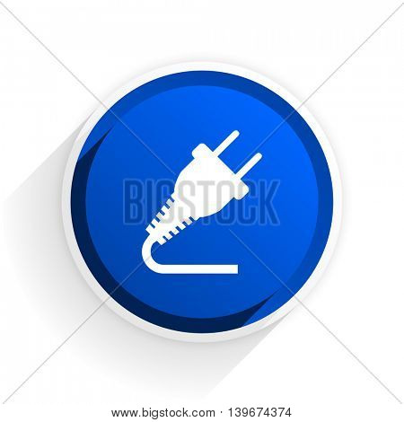 plug flat icon with shadow on white background, blue modern design web element