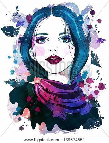 Portrait of beautiful girl with blue hair on abstract watercolor background. Fashion illustration. Print for T-shirt