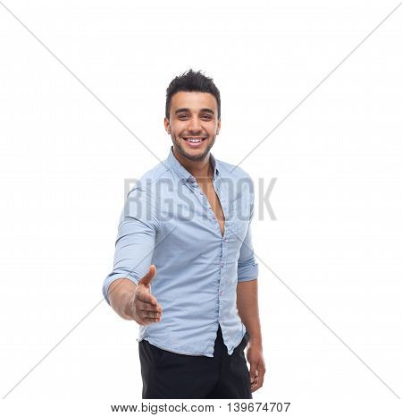 Handsome business man happy smile, businessman hold hand welcome gesture, wear blue shirt isolated over white background