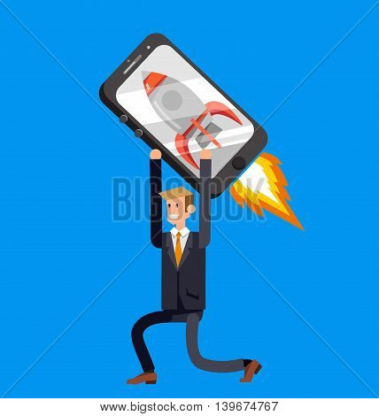 Vector detailed character with smartphone as rocket, startup. Mobile innovation, app construction site, user interface building process, api coding for phone application and development
