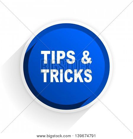 tips tricks flat icon with shadow on white background, blue modern design web element