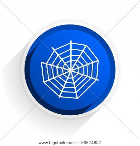 spider web flat icon with shadow on white background, blue modern design web element
