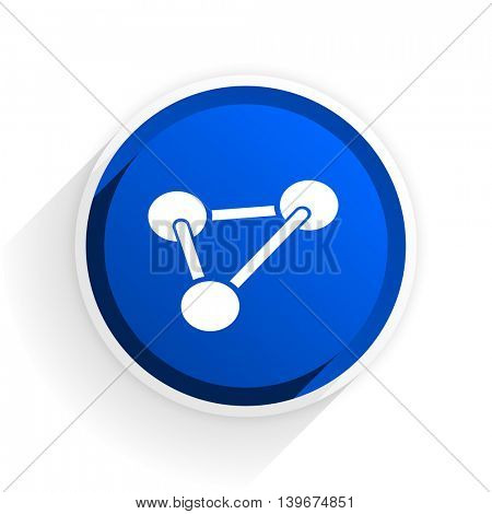 chemistry flat icon with shadow on white background, blue modern design web element