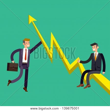 Vector detailed character businessman climbed the growing schedule . Business concept career growth job change. Web vector illustration