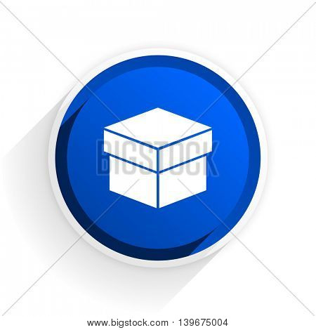 box flat icon with shadow on white background, blue modern design web element