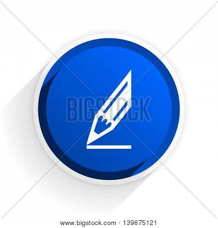 pencil flat icon with shadow on white background, blue modern design web element