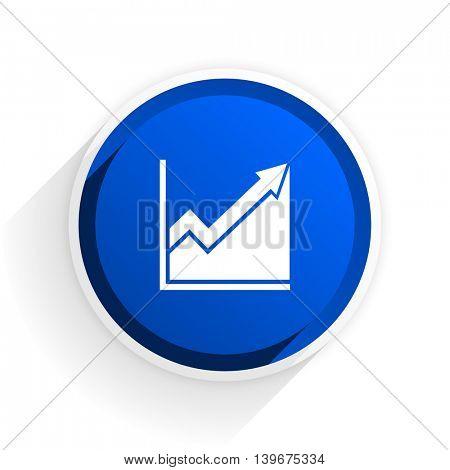 histogram flat icon with shadow on white background, blue modern design web element