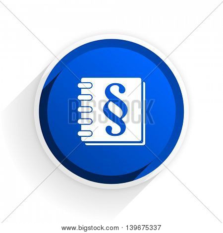 law flat icon with shadow on white background, blue modern design web element