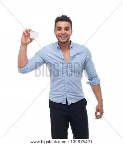 Handsome business man displaying blank empty business card happy smile, businessman wear blue shirt isolated over white background