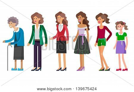 Detailed character woman Generations . All age categories - infancy, childhood, adolescence, youth, maturity, old age. Stages of development isolated on white background