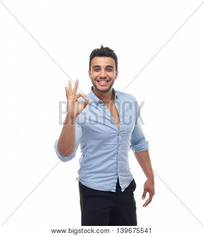 Handsome business man happy smile, businessman hold hand with ok gesture sign, wear blue shirt isolated over white background