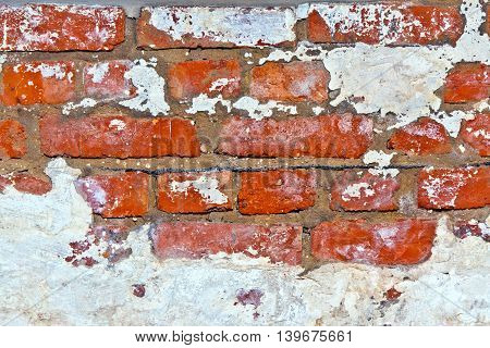 old red brick wall in a cellar