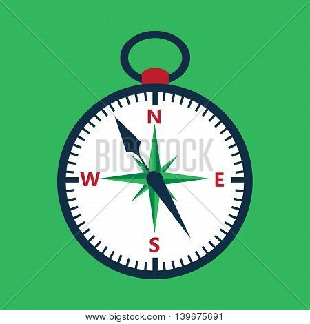 Flat compass over green. Vector illustration of measuring tool.