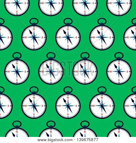 Green compass seamless pattern. Vector illustration of measuring tool.