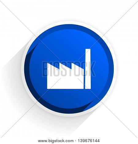 factory flat icon with shadow on white background, blue modern design web element