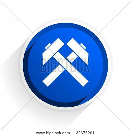 mining flat icon with shadow on white background, blue modern design web element